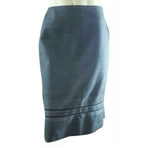 Tamari Felted Wool Striped Hem Pencil Skirt